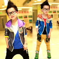 Wholesale 12PCS New Design Fashion Children s Jackets With Cap Cool Kids Coat Boys Girls Outerwear Spring Autumn Windproof Hooded Clothing