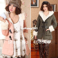 Wholesale Women Vintage Fleece Hooded Duffle woolen Coat Pocket Jacket Trench Hoodies Sweats Coat Colors