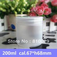achat en gros de contenant du gel de gros-Livraison gratuite 200ml glaçage pot Jar PET avec PP Cap 200g masque conteneur plastique crème bouteille Lotion bouteille 50pcs / lot gros