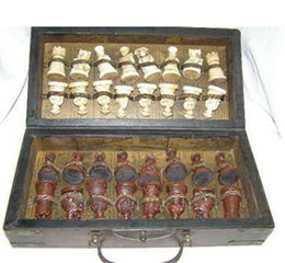 Wholesale Chinese Army Style Pieces Chess Set Leather Wood Box