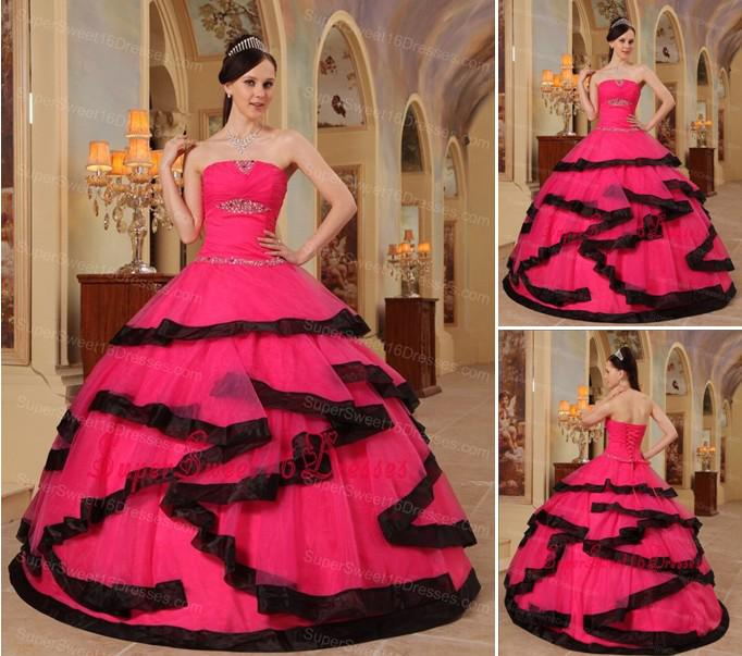 2015 Quinceanera Dresses Gorgeous Coral Red And Black Sweet 16 ...