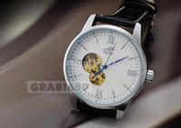 Wholesale Fashion Individuality Swiss Automatic Silver Tone Black Leather Wrist Gift Watch