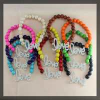 Wholesale 10pcs Mixed color mm Howlite Turquoise Silver Crystal Rhinestones Sideways love Connectors beads Stretch Bracelets
