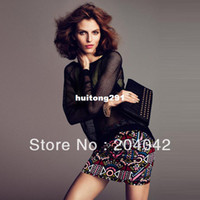 Women Polo Fashion Tee Yager2013New Sexy black grid gauze female long-sleeve o-neck t-shirt blouse for women HOT shirt SX S M L XL XXL 20130316-7