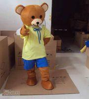 Wholesale Yellow Teddy Bear Mascot Animal Costumes Cartoon Mascot Halloween Customized Mascot Outfit Adult Fancy Dress