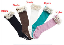 Wholesale New baby girl socks kids Stockings classic knee BOOT high socks with lace solid color cotton socks erbaby