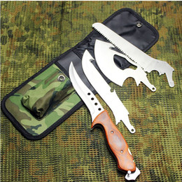 Wholesale Multi function Tactical Camping Survival Knives Stainless Blade Wood Handle Axe Saw Hunting Knife For Climbing Outdoor