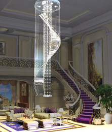 Wholesale new flush mount modern living room crystal chandelier light Dia450 H2200mm lustre staircase lighting fixtures promotion sales