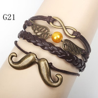 Women's beard patterns - Infinity Wings Beard Bracelets Multi Layer Braided Leather Handmade Combination Pattern Colorful Charm Bracelets Good Quality G21