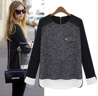 Wholesale European Style Fall New Fashion Woman Chiffon Kniting Blouses Ladies High Quality Blouses Round Neck Long Sleeve Black Size S M L XL
