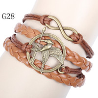 Wholesale Hunger Games Infinity Bracelets Multi Layer Braided Leather Handmade Combination Pattern Colorful Charm Bracelets G28