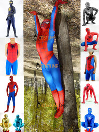 Adult Spider-man Zentai Costumes: Red & Blue, Black, Short. Hot Sellers