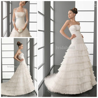 Wholesale 2012 Aire Barcelona collection ruched strapless tiered organza A line bridal dress wedding dress
