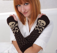 Wholesale 2014 Lady Women s Cartoon Skull Knitting Acrylic Arm Sleeve Warm Warmer Gloves Outdoor Sports Gloves Autumn Winter