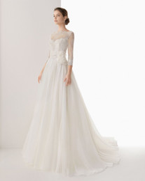 Elegant Simple Lace Ball Gown Sweep Train 3 4 long Sleeves Chiffon White Wedding Dress