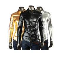 Wholesale JOGAL nightclub fashion glossy fabric Slim Men s long sleeved shirt