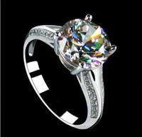 classic 3 ct diamond ring - Luxury CT K white gold plated engagement ring jewelry simulate diamond wedding ring for women anniversary ring mount ring