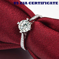classic certified diamond ring - US GIA certified ct moissanite engagement rings K white gold simulate diamond rings for women solid white gold ring
