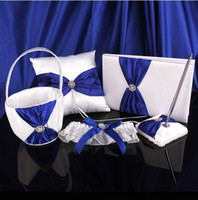 Wholesale Royal Blue Ivory Bow White Wedding Guest Book Pen Set Stain Ring Pillow Pillows Girl s Flower Basket Bridal Lace Garter Suppliers Favors Set