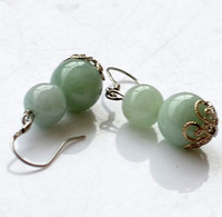 Wholesale natural Burma jade gourd earrings jade jewelry jade earrings