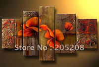 Yes Guangdong China (Mainland) Modern Wholesale - Framed 5 Panels 100% Handpainted High End Large Wall Canvas Art Picture Flower Oil Paintings Modern