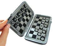 Wholesale New High Quality Stainless Steel Inner Mini Chess with Metal Leather Travel Case Gift Magnetic Mini Inlaid Chess Set Backgammon