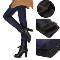 Wholesale New Winter Jeans Look Thermal Legging Pants Jeans Sexy Warm Black Trousers
