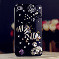 Wholesale Cute Diamond Horse mobile phones shells for Iphone4s Sumsung Galaxy Diamond cellphone cases with Gift Boxes V004
