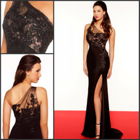 Wholesale 2014 Little Black One Shoulder Chiffon Evening Dresses Gown with floral Lace Sheer Neckline Mermaid Pageant Dresses with Front slit R