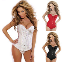 Satin plus size 3xl - White Black Red Plus Size Sexy Women Wedding Dress Bustier Lingerie Corselet Corset S M L XL XXL XL XL XL XL