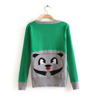 Wholesale Brand New Women Girl Knit Cardigan Back Cute Cat Design Contrast Colors More Colors Free Size Front Botton Down Autumn Outwear