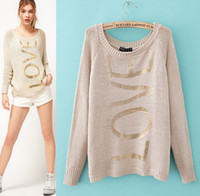 Wholesale New Women Fashion Sweaters Gilding Alpha Love Round Neck Long Sleeve Pullover Autumn Tops High Quality