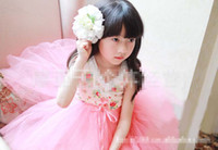 Wholesale 2013 New Korean Baby Girls Kids Floral Tulle Tutu Princess Dress Sundress Children Clothing