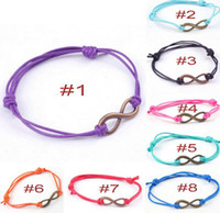 Wholesale New Arrival Braided Rope Infinity Bracelet Alloy ID colors Freeshipping