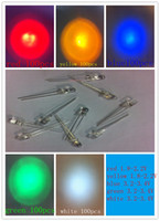 Wholesale mm LED super Bright valuesx100pcs red yellow blue green white LED light diode kit
