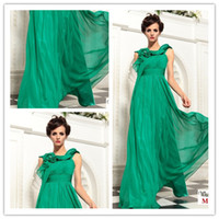 Ruffle Sleeveless Crew Neck Dark Green bridesmaid dresses evening gowns Sleeveless Sheath Jewel Floor length Flowers Fold chiffon 2014 New B003