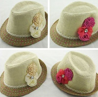 best baby sun hat - 10pcs best selling Baby Flower Caps Baby Hat Kids Straw Fedora Hat Girls Sun Hat Children Summer Hat Jazz Cap