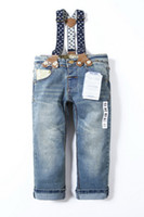 Wholesale Retail new fashion children s acid wash boys girls overalls denim pants jeans kids baby blue Freeshipping
