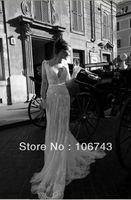 Wholesale dresses maxi dress Debutante custom White ivory Long sleeve Lace Sexy V Neck Backless lace white Wedding Dresses