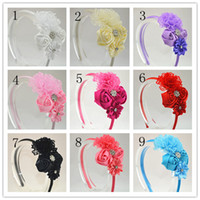 Wholesale Trail order girl lovely lace flower headband satin ribbon rose flower with rhinestone Button hairband hair accessory