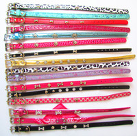 Wholesale 12 different mixed items fashion dog pet pu collars with bell products mixed color