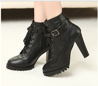 ladies high heel boots - New Hot Sale Fashion Women Boots Ladies Black Lace Up Buckle Strap Rivets Punk High Heel Military Ankle Boots