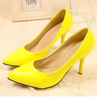 Wholesale Yellow colors dress shoes Super pointed High heels shoes shallow mouth OL elegant lovely shoes