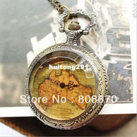Women's Quartz Round 1pcs Novelty King Tea Map Pocket Watch vintage clock Quartz movement white face inside long chain JYY51