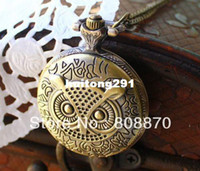 Women's Quartz Round 1pcs Retro owl Pocket Watch Bronze hours clock Quartz movement white face inside long chain JYY47