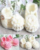 Precio de Sandalias baratas recién nacidos-¡35% de descuento en las COMPRAS GRATIS! ¡0-12MONTH! ¡Sandalias grandes de las flores de la lana! Sandalias de ganchillo recién nacido / barato / China / niños zapatos / zapatos en línea 6pairs / 12pcs