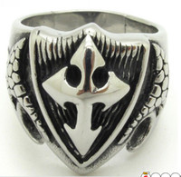 Wholesale Hot Sale Punk Biker Silver Ring Mens Boys Cool Cross Stainless Steel Snake Skins Jewelry Gift