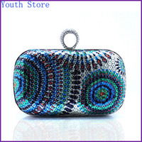 Wholesale 2014 Hot Sale Multicolor Sequined Box Clutch Glittering Purse With Diamond Encrusted Ring Clasp cm DT011