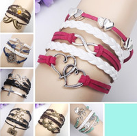 Wholesale New Styles mix Infinity Bracelets Handmade Love leather Bracelets Hip Hop Cross Women Bracelets men bracelet