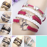Wholesale New Styles mix Infinity Bracelets Handmade Love leather Bracelets Hip Hop Cross Women Bracelets men bracelet
